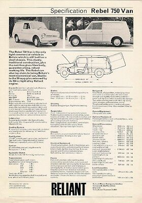 Reliant Rebel 750 Van 1972-73 UK Market Specification Leaflet Brochure