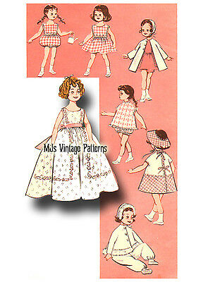 """Vtg Doll Clothes Pattern 1950s/60s ~ 17"""" Shirley Temple Long Dress Playsuit"""