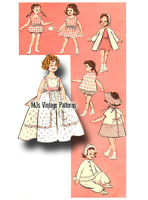 """Vtg Doll Clothes Pattern 1950s/60s ~ 19"""" Shirley Temple Long Dress Playsuit"""