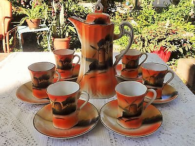 VINTAGE 13 PIECE PITCHER & CUP SET - ORANGE WINDMILL TREE SCENE - MADE IN JAPAN