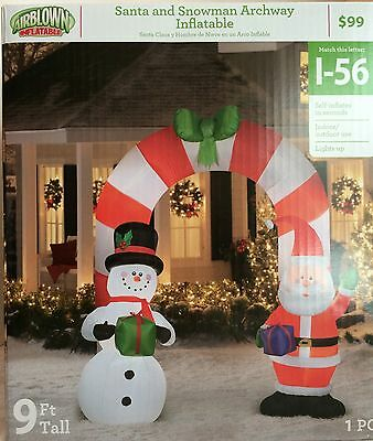 Santa and Snowman Archway Inflatable 9 foot tall NEW Indoor/Outdoor Lights