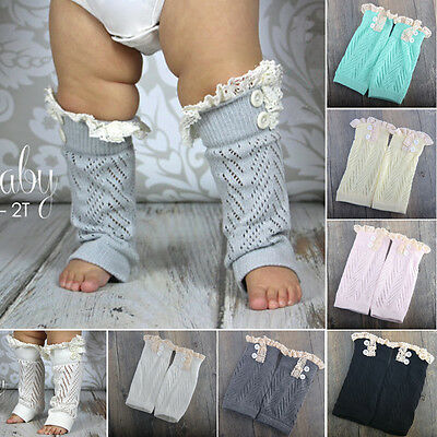 Green-Baby's Toddler Crochet Knitted Button Lace Trim Leg Warmers Legging Cuffs