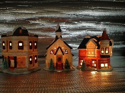 3 Piece 1990 Seasonal Ceramic Lighted Christmas Village House Church Post Office