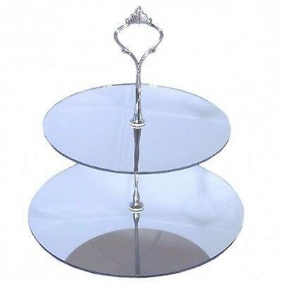 Two Tier Round Cake Stand - Mirrored