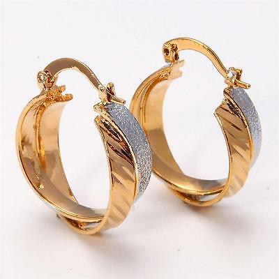 Gorgeous 14K Solid Yellow Gold Filled Jewelry Women's Hoop Earrings E040
