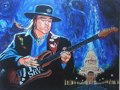 Stevie Ray Vaughan Signed Print by Artist SHAKOR (B. Cameron White's)