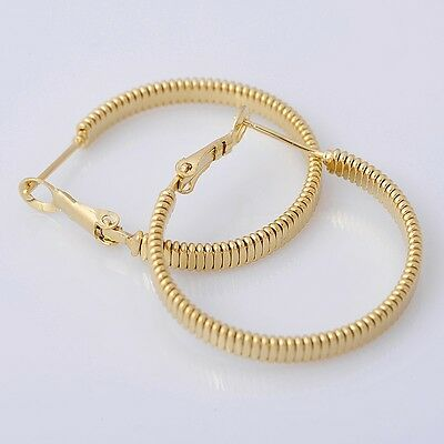 Pretty 14K Solid Yellow Gold Filled Hoop Style Womens Jewelry Earrings E029