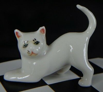 Vintage German Glazed Bisque Porcelain White Cat Tail Up ~ FREE SHIPPING