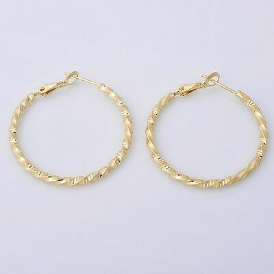 Pretty 14K Solid Yellow Gold Filled Hoop Style Womens Jewelry Earrings E031