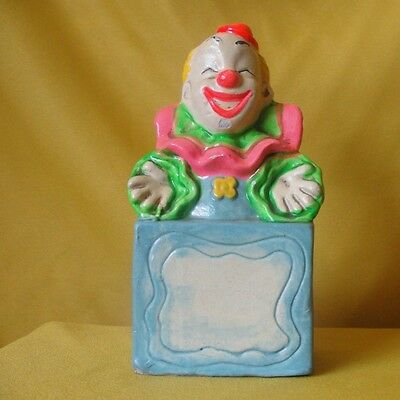 "Chalkware Circus Clown Fair Coin Bank Handpainted Vintage Free Shipping 7"" Tall"