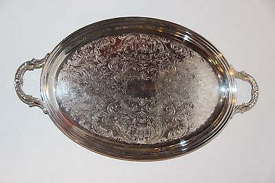 Vintage Silverplate Footed OVAL SERVING TRAY Two Handles