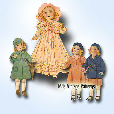 """Vtg Antique 30s Doll Pattern ~ for 18"""" 19"""" Shirley Temple, Patsy, Composition"""