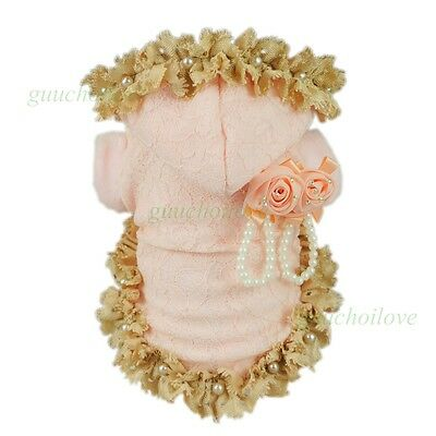 """12""""Chest Princess Pink Lace Dog Coat XS Pet Clothes Winter Puppy Hooded Apparel"""