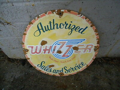 VINTAGE1939  WHIZZER MOTORCYCLE AUTHORIZED SALES AND SERVICE  PORCELAIN  SIGN