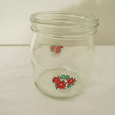 Carlton Glass Canister, Christmas Poinsettias In Basket, No Lid, 3/4 Liter