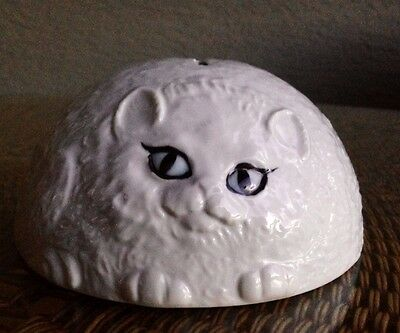 "Vintage Nancy Lopez 70's Fat White Cat Piggy Bank 6""w 3""h Made in Japan TOO CUTE"