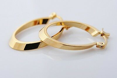 Gorgeous 14K Solid Yellow Gold Filled Hoop Style Womens Jewelry Earrings E311