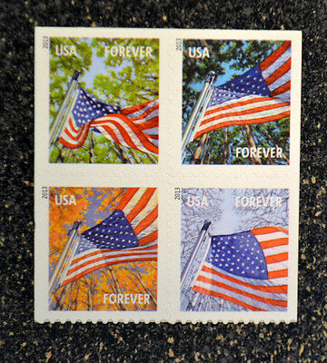 2013USA #4782a-4785a Forever Flag For All Seasons ATM Booklet Block of 4 (SSP)