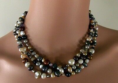 """Vtg 3 Strand Fresh Water Multi Colored Pearls Amethyst 18+2"""" Necklace 925 S Clas"""