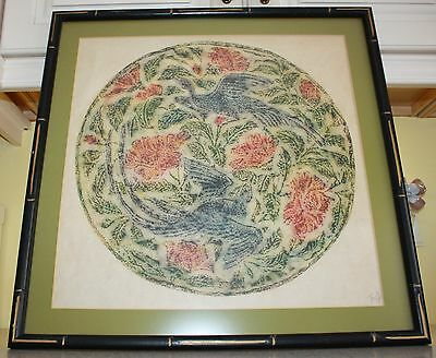 """Beautiful Transfer Painting Signed """" BIRDS & FLOWERS"""""""