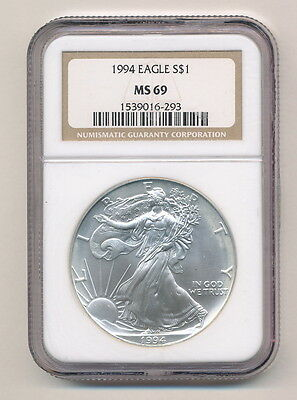 1994 BLOTCHY UGLY AS SHOWN AS IS AMERICAN SILVER EAGLE NGC MS 69 OPENS AT .99C