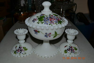 Consolidated HP Con Cora Covered Compote & Candlesticks