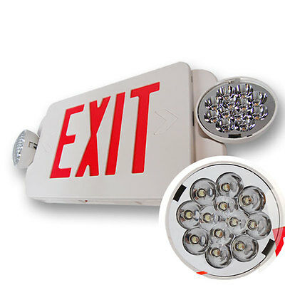NEW LED Exit Sign & Emergency Light – RED Compact Combo UL924 EL2BR