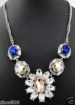 gorgeous Statement crystal chunky chain charm choker collar necklace pendant 882