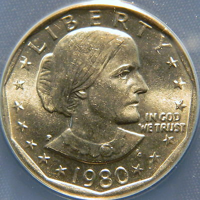 1980 P   S B Anthony Dollar, Anacs Ms 66 Certified