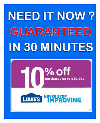 FIVE (5x) Lowes 10% Off Coupons * 5/7/2015 PRINTABLE! Email Fast. GUARANTEED!!