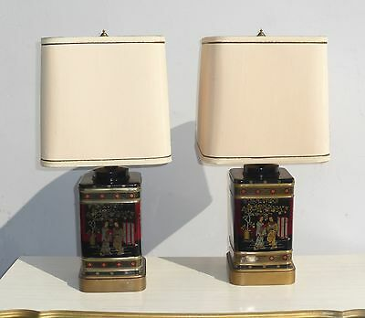 Pair Vtg Oriental Asian Tea Caddy TABLE LAMPS Black  Frederick Cooper Style