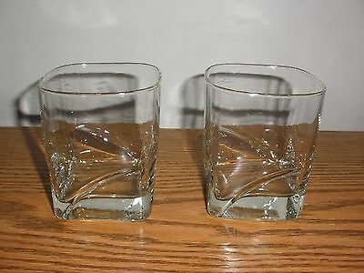 Square  Whiskey Old Fashioned Tumbler Glasses Set of 2