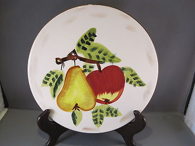 "TABLETOPS GALLERY Hand Painted 8"" FALL FRUIT TRIVET W/ Pear and Apple"
