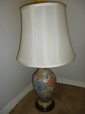 Vintage Frederick Cooper Chicago. Porcelain Handpainted Table Lamp w/Gold in Lay