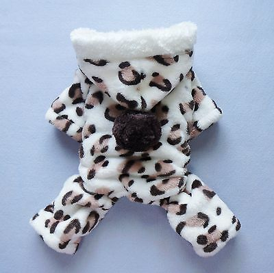 "S 12""Chest Leopard Puppy Flannel Dog Clothes Small Pet Jumpsuit Hooded Coat PJS"