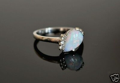 Vintage 10k White Gold Natural White Opal Diamond Sapphire Jewelry Ring Size 7