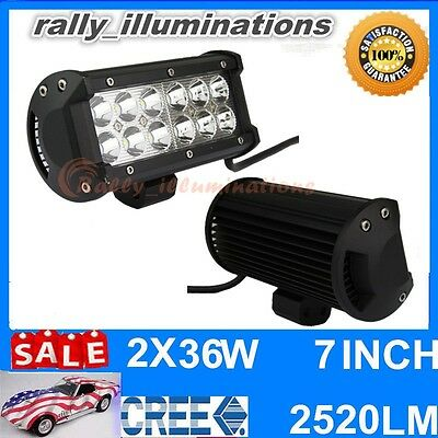 2PCS 7 inch 36W CREE LED Work Driving Light Bar 2520LM SPOT Offroad 4X4 Boat
