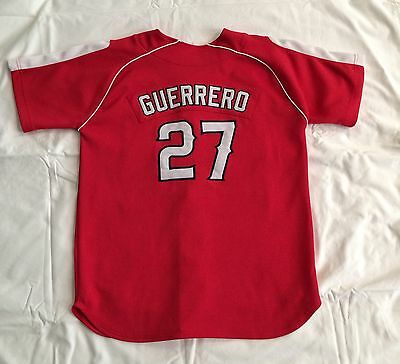 Red Nike Vlad Guerrero #27 Angels Short Sleeve Baseball Jersey Youth Lg