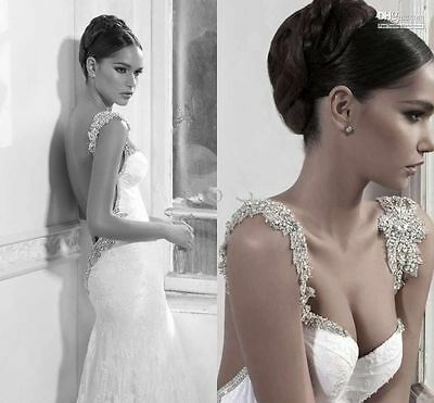 Sexy Backless Beaded Lace white ivory Mermaid Wedding Dress Bridal Gown Custom