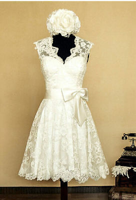 2015 White/Ivory Vintage Lace Wedding Dresses Tea Length Bridal Gown Custom Made