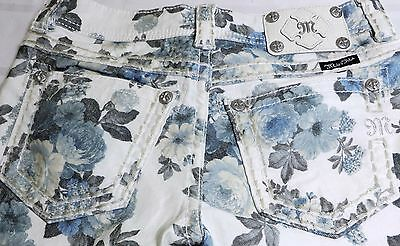 MISS ME ANKLE SKINNY STRETCH JEANS RHINESTONES BLUE PEONY FLORAL SIZE 28/ 30