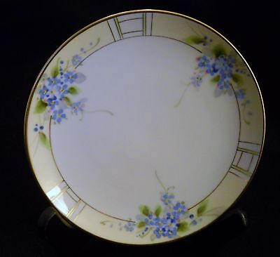 ANTIQUE  NIPPON PLATE - BLUE FLOWERS  6 1/2""