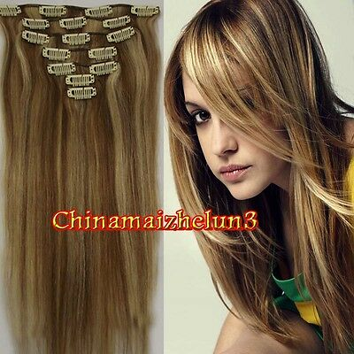 New Come 15'' 70g 7Pcs Fashion Clip in Human Real Remy Hair Extensions #12/613