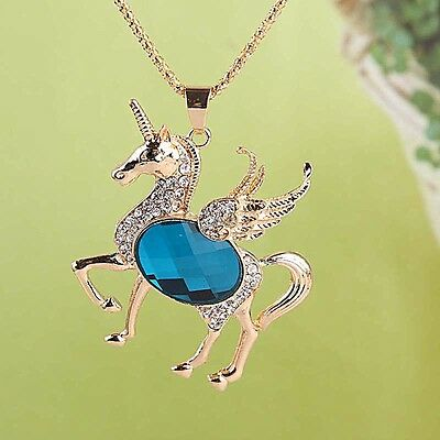 Women 14k Gold Filled Sapphire Crystal Pendant Horse Dress Chain Necklace B004
