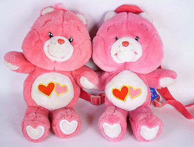 """Care Bears Love A Lot 13"""" Plush & Backpack Purse Lot Pink Heart Valentine's Day"""