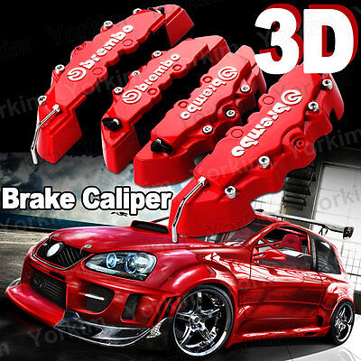 3D Red Brembo Style For Dodge Universal Disc Brake Caliper Covers 4pc Front Rear