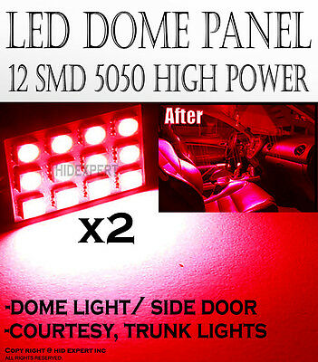 PIA 2 pcs Red High Power 12-SMD LED Panel Light Interior Map Doom Bulbs cool U#8