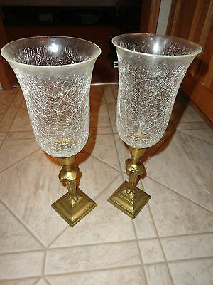 "Pair Vintage Brass Rams Head Candlestick Holders w/Crackle Glass Shades 15"" tall"