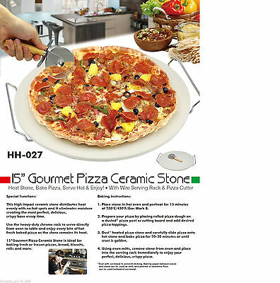 "Extra Large 38cm / 15"" Pizza Baking Stone With Wire Serving Rack & Pizza Cutter"
