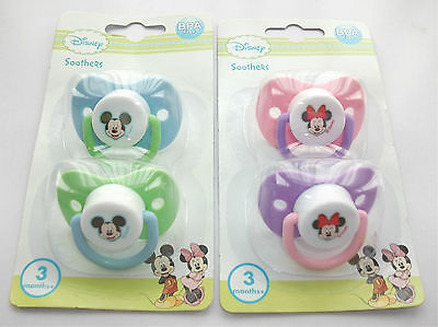 Disney Minnie Mickey Mouse baby dummy soother pacifier 2 pack boy girl